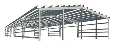 Metal production halls / columns, beams, rigels